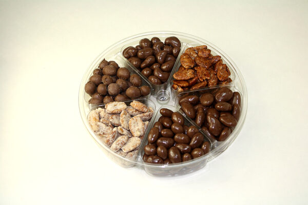 Six selections of candied nuts in tray
