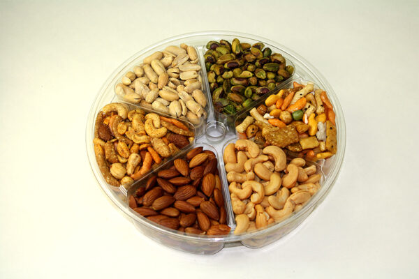 Assorted nuts in six-section fruit tray