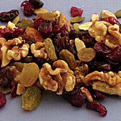 Cranberry Walnut Mix containing cranberries, walnuts, raisins, almonds, and pumpkin seeds