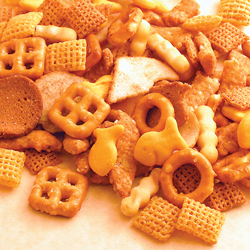 Texas Trash Chex Mix including chex snack mix and goldfish crackers