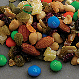 Y2K trail mix with almonds, m&ms, raisins, and peanuts